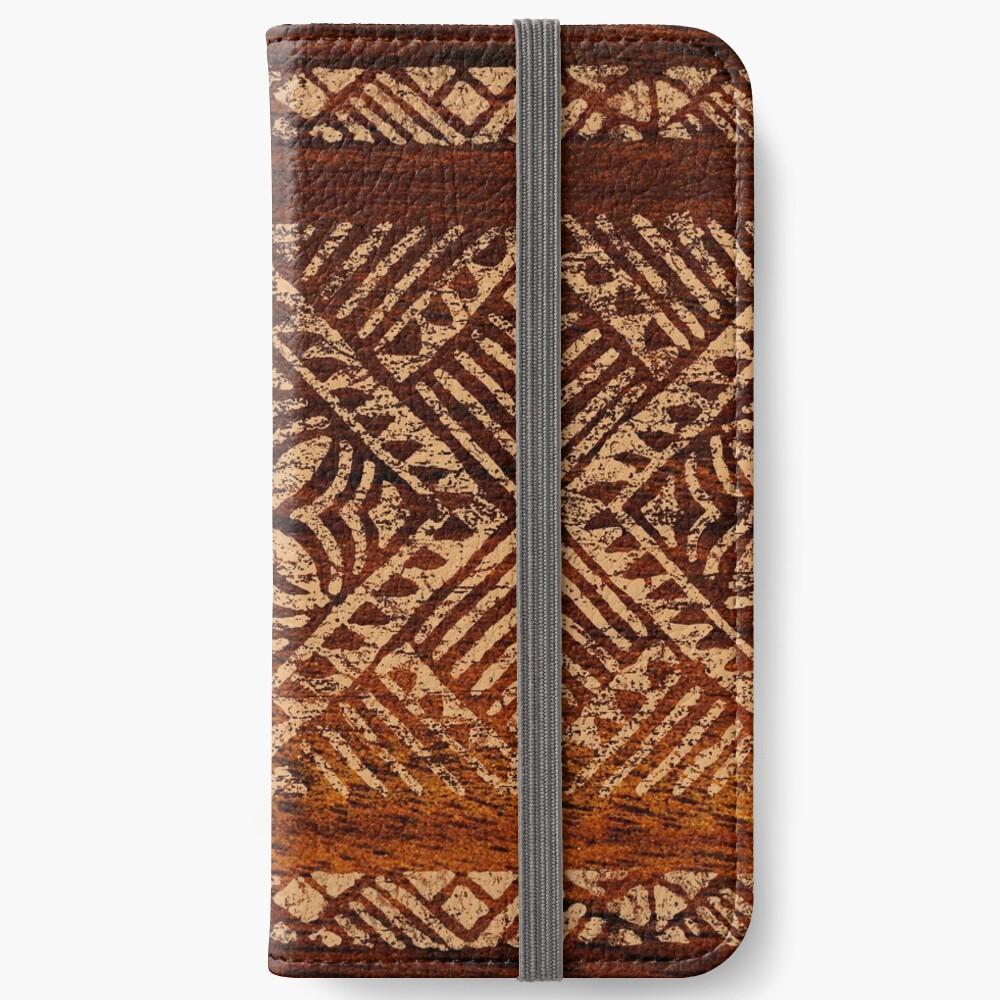 Samoan Tapa Faux Koa Wood Hawaiian Surfboard Fundas tarjetero para iPhone