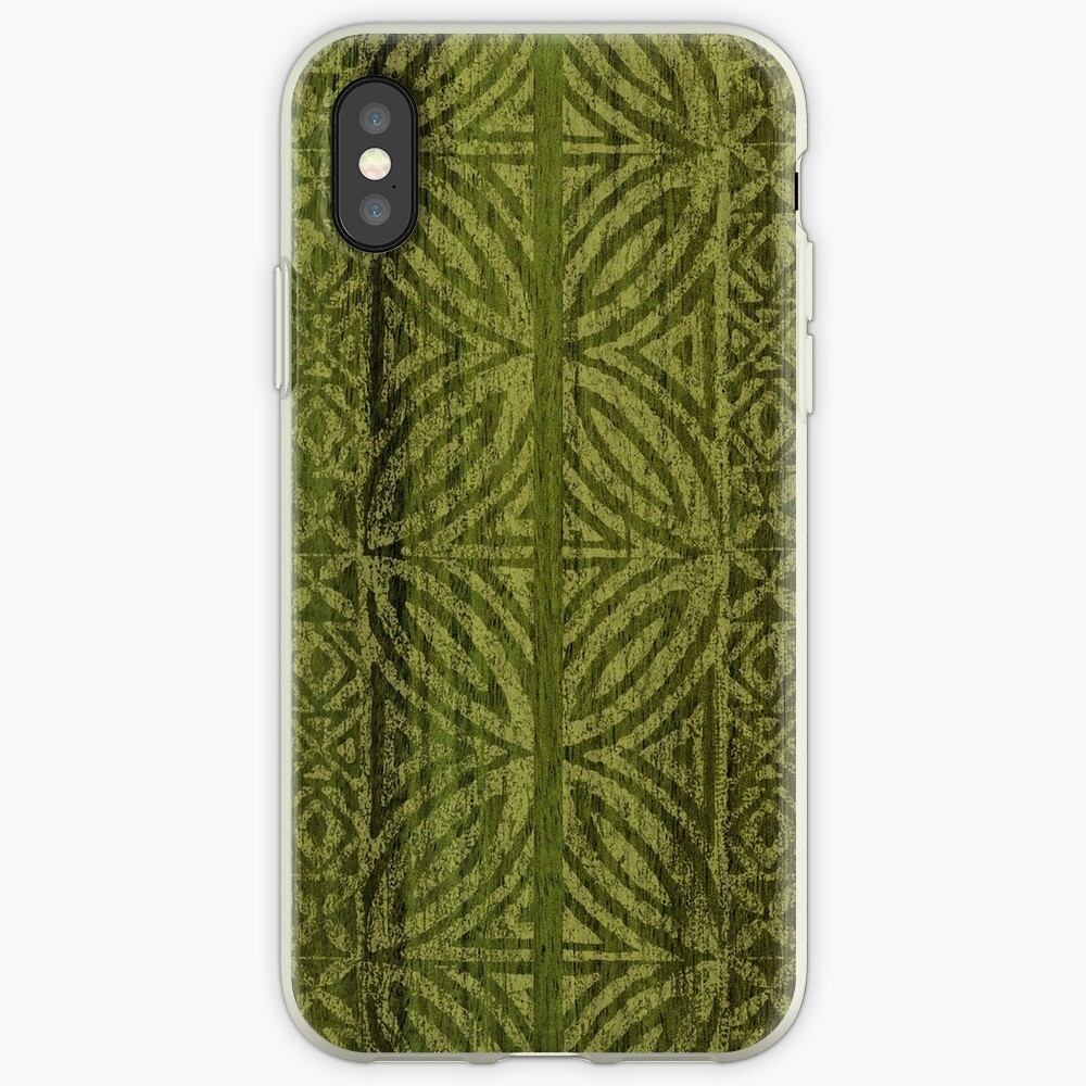 Samoan Tapa Olive Faux Koa Wood Hawaiian Surfboard  iPhone Cases & Covers