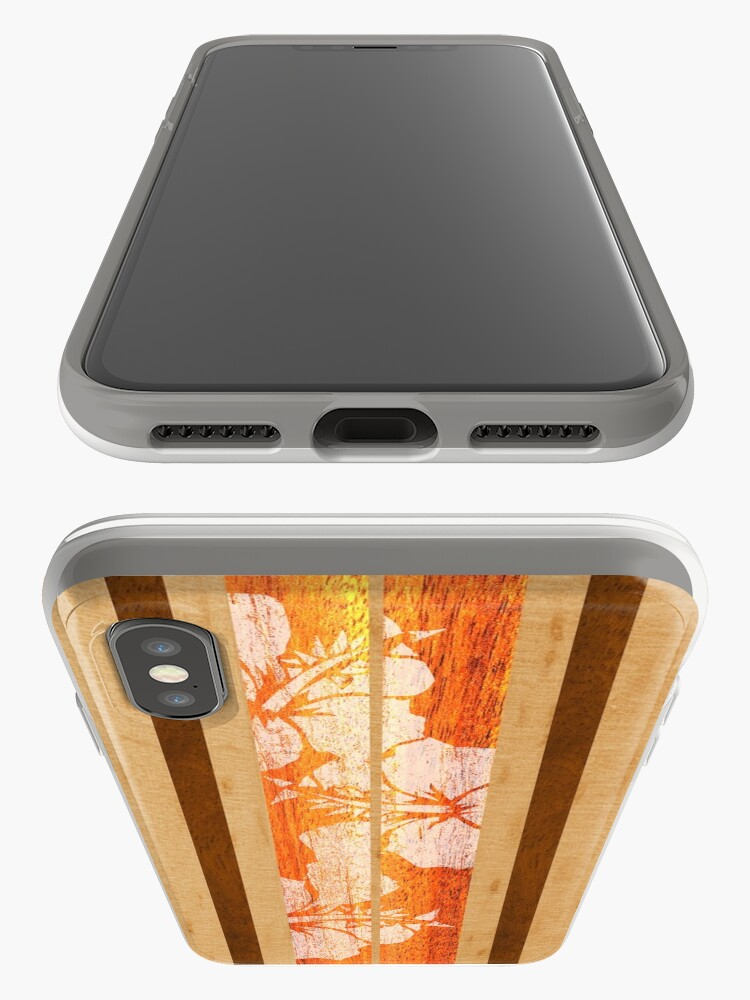 Alternate view of Haleiwa Hawaiian Faux Maple Wood Surfboard - Orange  iPhone Cases & Covers