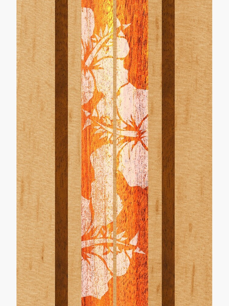 Haleiwa Hawaiian Faux Maple Wood Tabla de surf - Naranja de DriveIndustries