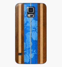 Haleiwa Hawaiian Faux Koa Wood Surfboard - Ocean Blue Case/Skin for Samsung Galaxy