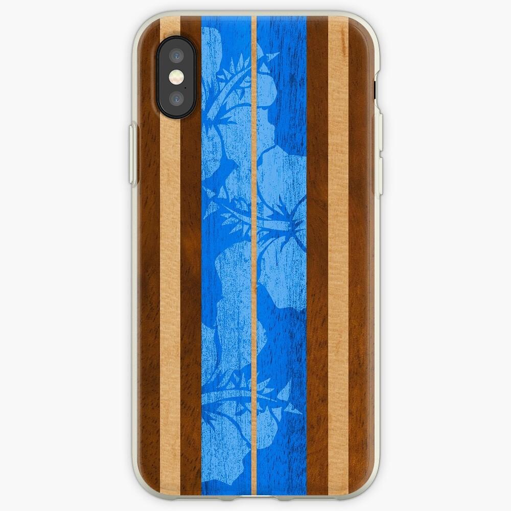 Haleiwa Hawaiian Faux Koa Wood Surfboard - Ocean Blue iPhone Cases & Covers