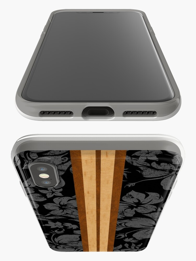 Alternate view of Sunset Beach Hawaiian Faux Koa Wood Surfboard - Black and Gray iPhone Cases & Covers