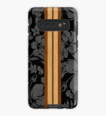 Funda/vinilo para Samsung Galaxy Sunset Beach Hawaiian Faux Koa Wood Tabla de surf - Negro y gris