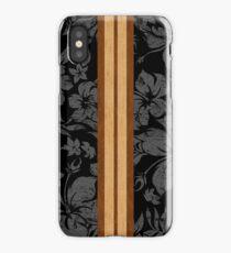 Sunset Beach Hawaiian Faux Koa Wood Surfboard - Black and Gray iPhone Case/Skin