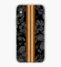 Sunset Beach Hawaiian Faux Koa Wood Surfboard - Black and Gray iPhone Case