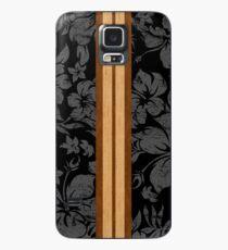 Sonnenuntergang Beach Hawaiian Faux Koa Holz Surfbrett - schwarz und grau Hülle & Klebefolie für Samsung Galaxy