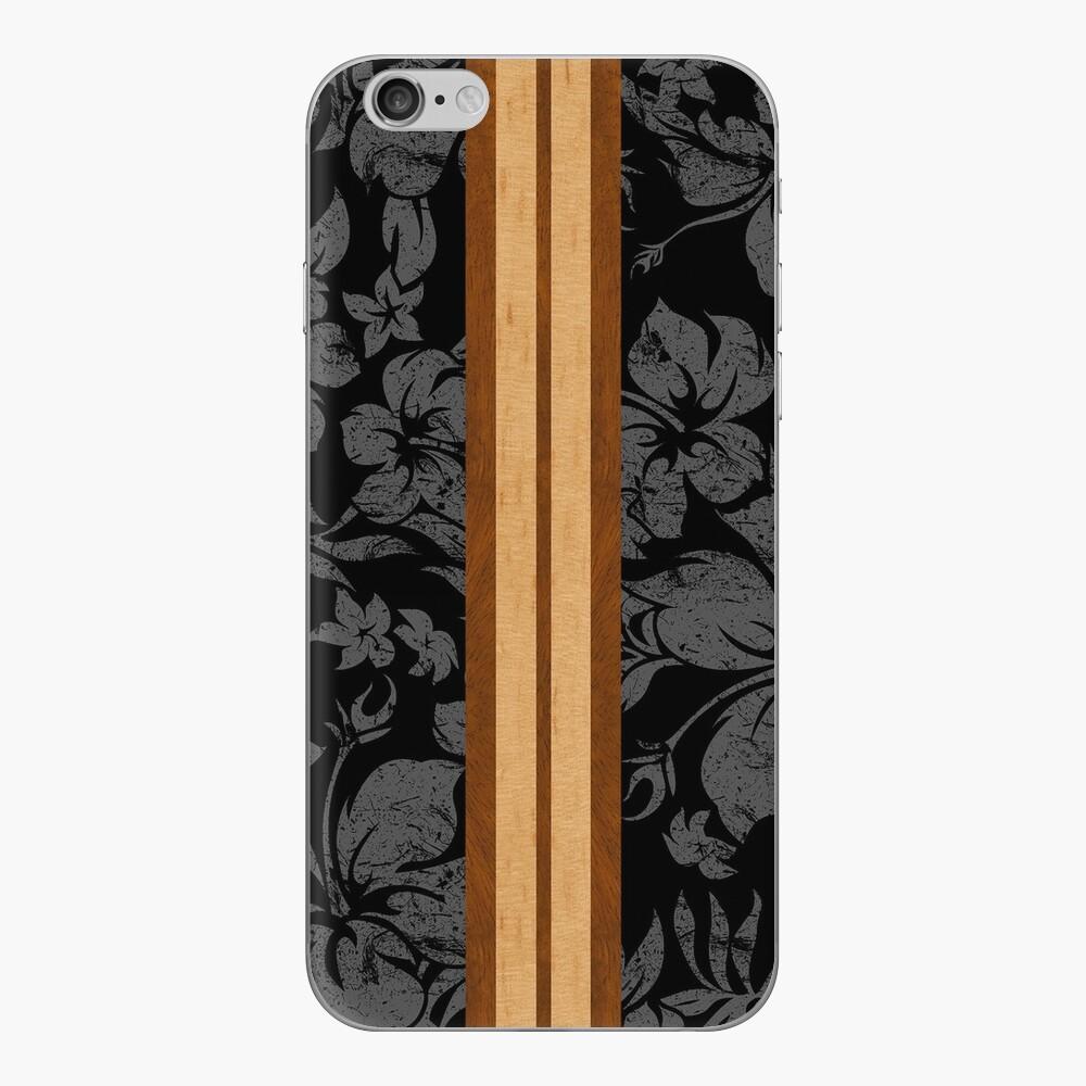 Sunset Beach Hawaiian Faux Koa Wood Tabla de surf - Negro y gris Vinilo para iPhone
