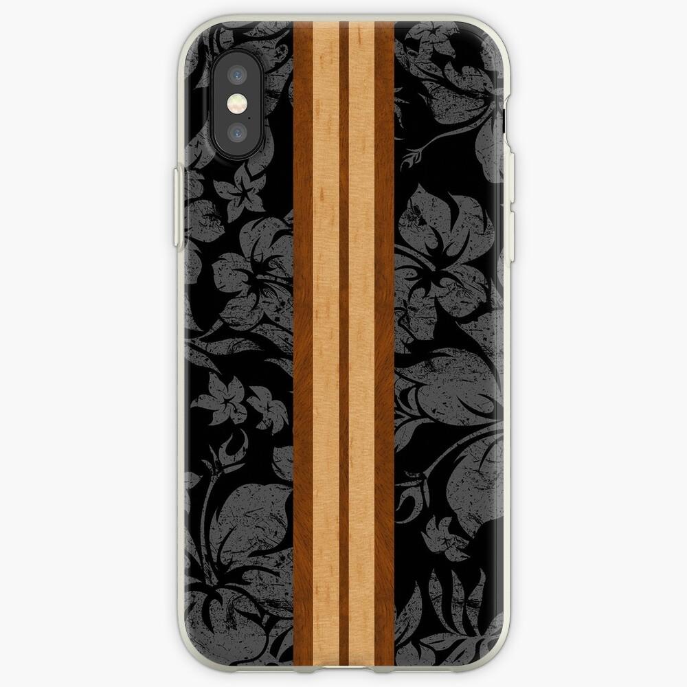 Sunset Beach Hawaiian Faux Koa Wood Surfboard - Black and Gray iPhone Cases & Covers