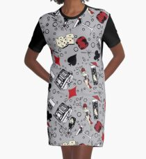 Viva Vegas Retro Casino Print - Red, Black and Gray Graphic T-Shirt Dress