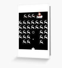 Pixel Game Santa and Rudolph Greeting Card