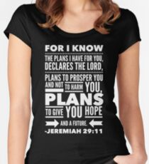 Christian Bible Verse Jeremiah 29 11 God Hope Future Faith Women's Fitted Scoop T-Shirt