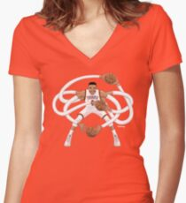Mr. Triple Double Westbrook  Women's Fitted V-Neck T-Shirt
