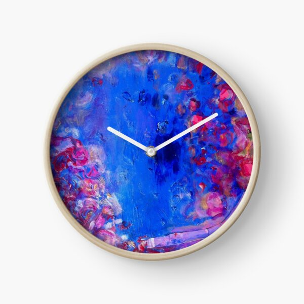 Moonlight roses. Abstract painting. Clock