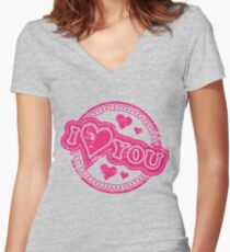 Sweet I Love You Sayings Women's Fitted V-Neck T-Shirt