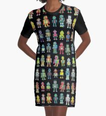 Robot Line-up on Black - fun pattern by Cecca Designs Graphic T-Shirt Dress