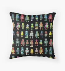 Robot Line-up on Black - fun pattern by Cecca Designs Throw Pillow