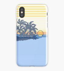 Big Sunset Hawaiian Stripe Surfers - Ocean Blue & Yellow iPhone Case/Skin