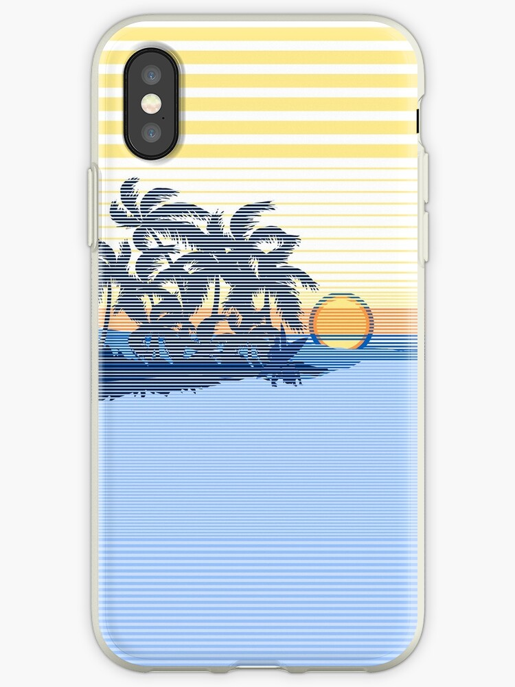Big Sunset Hawaiian Stripe Surfers - Ocean Blue & Yellow by DriveIndustries