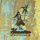 Surf Shack Hawaiian Weathered Faux Wood Design - Aqua and Yellow by DriveIndustries