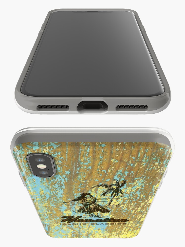 Alternate view of Surf Shack Hawaiian Weathered Faux Wood Design - Aqua and Yellow iPhone Cases & Covers