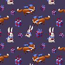 Fox and rabbit celebrate Christmas by skrich