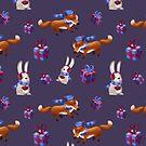 Fuchs und Hase feiern Weihnachten von skrich