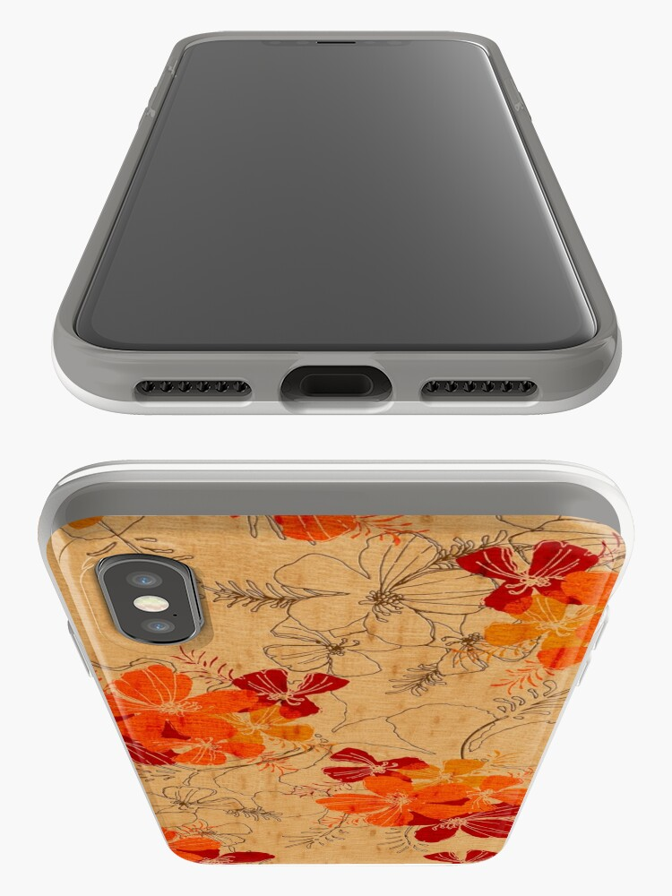 Alternate view of Midnight Garden Hawaiian Faux Wood Surfboard - Orange iPhone Cases & Covers
