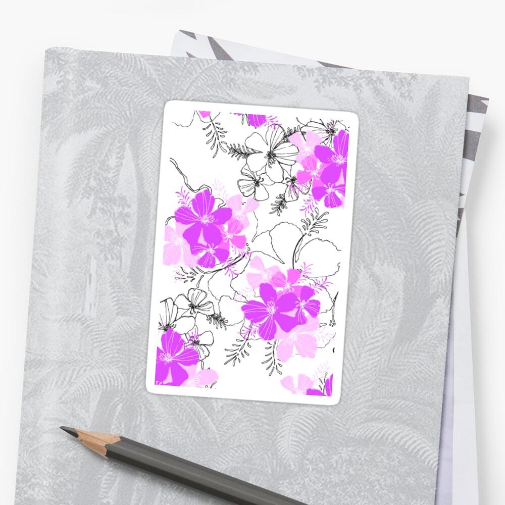 Midnight Garden Hawaiian Hibiscus Print - Violet on White Sticker