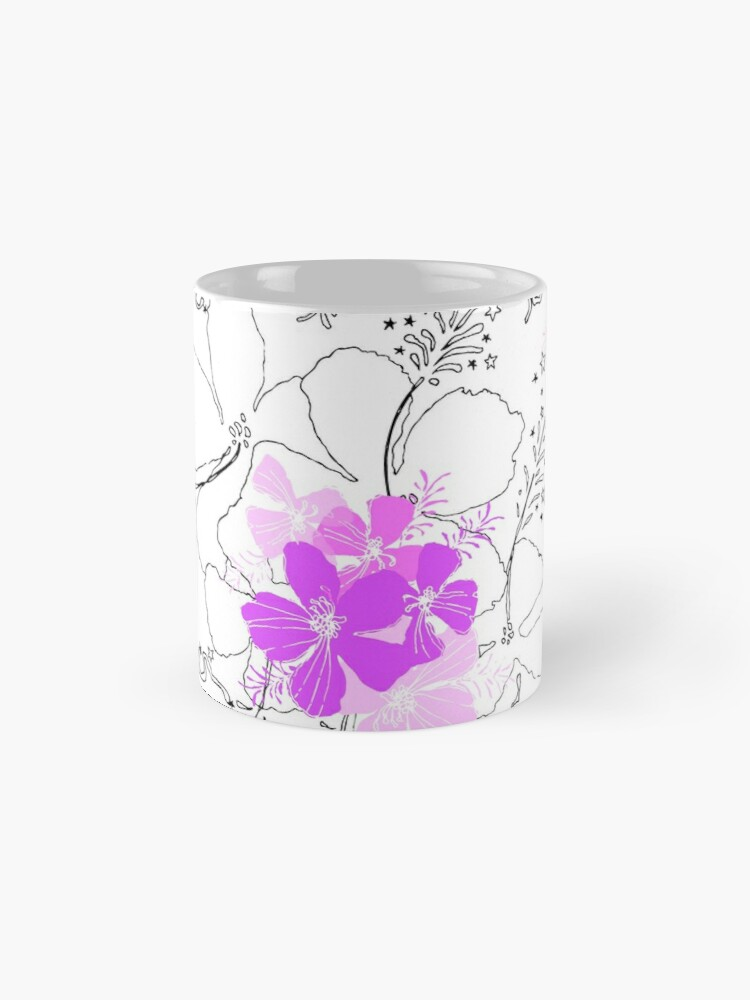 Alternate view of Midnight Garden Hawaiian Hibiscus Print - Violet on White Standard Mug