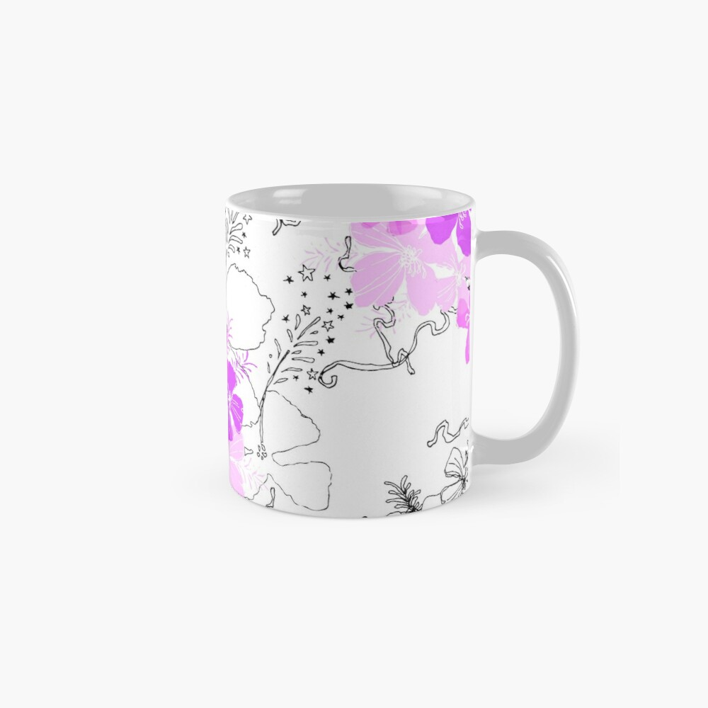 Midnight Garden Hawaiian Hibiscus Print - Violet on White Standard Mug