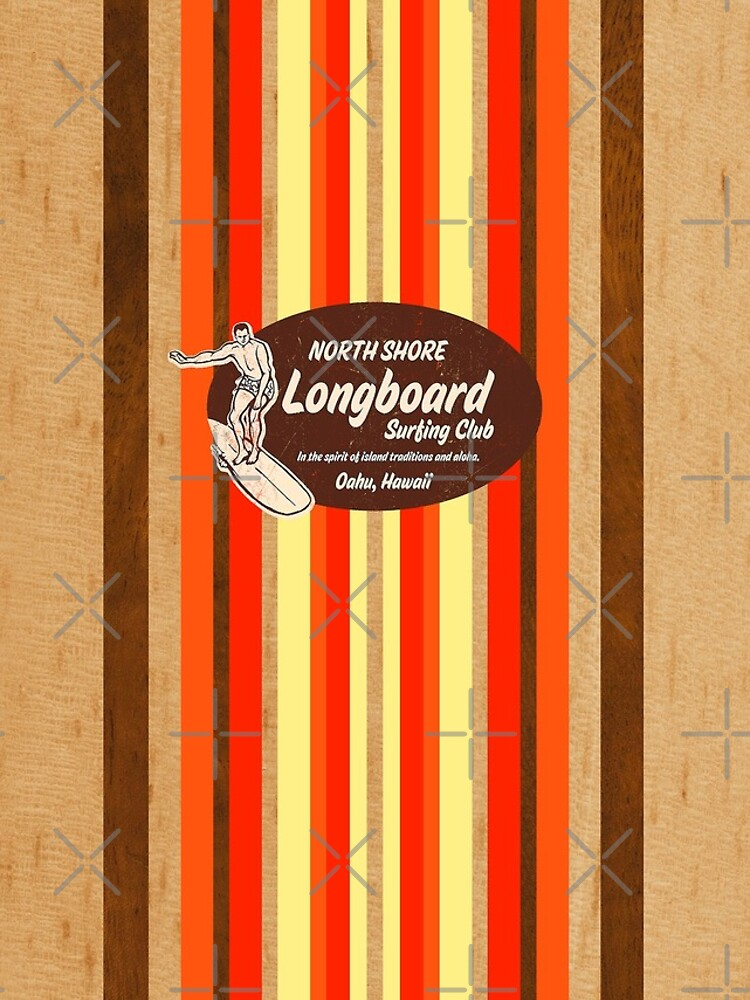Pipeline Striped Hawaiian & Club Surfing Logo - Orange and Brown by DriveIndustries