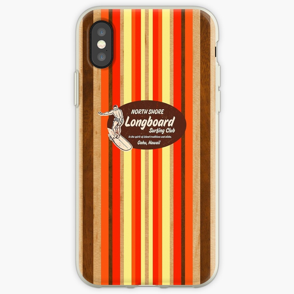 Pipeline Striped Hawaiian & Club Surfing Logo - Orange and Brown iPhone Cases & Covers