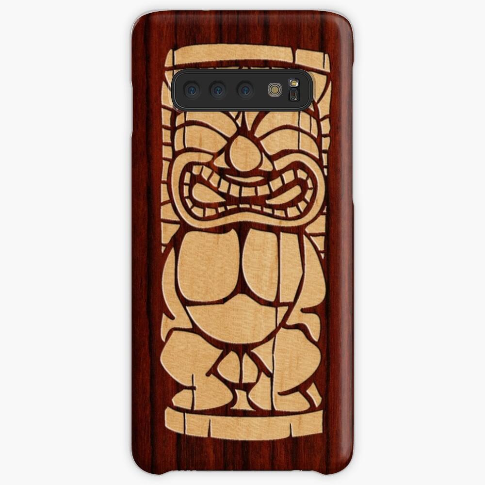 Tabla de surf hawaiana Tiki Ailani Faux Koa Wood Funda y vinilo para Samsung Galaxy
