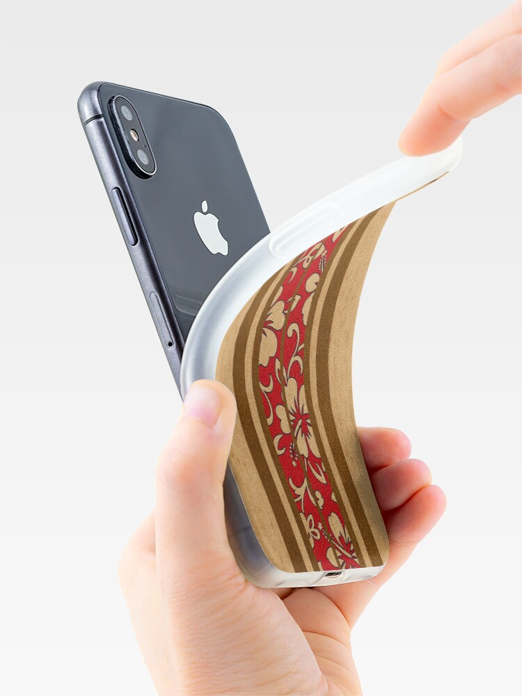 Alternate view of Pupukea Hawaiian Faux Koa Wood Surfboard with Red Hibiscus Pareau iPhone Cases & Covers