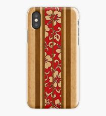 Pupukea Hawaiian Faux Koa Wood Surfboard with Red Hibiscus Pareau iPhone Case