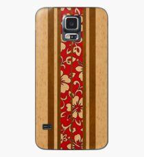 Pupukea Hawaiian Faux Koa Holz Surfbrett mit roten Hibiscus Pareau Hülle & Klebefolie für Samsung Galaxy