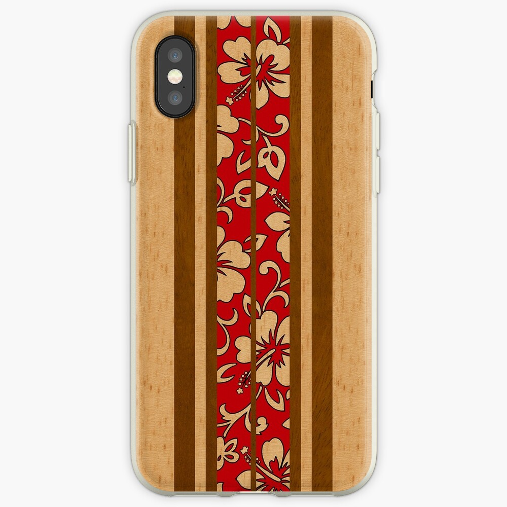 Pupukea Hawaiian Faux Koa Wood Surfboard with Red Hibiscus Pareau iPhone Cases & Covers