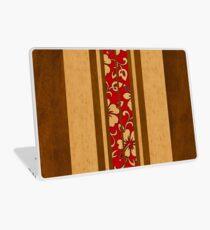 Pupukea Hawaiian Faux Koa Wood Surfboard with Red Hibiscus Pareau Laptop Skin