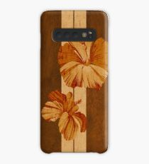 Funda/vinilo para Samsung Galaxy Kualoa Faux Koa Wood Tabla de surf hawaiana con hibisco