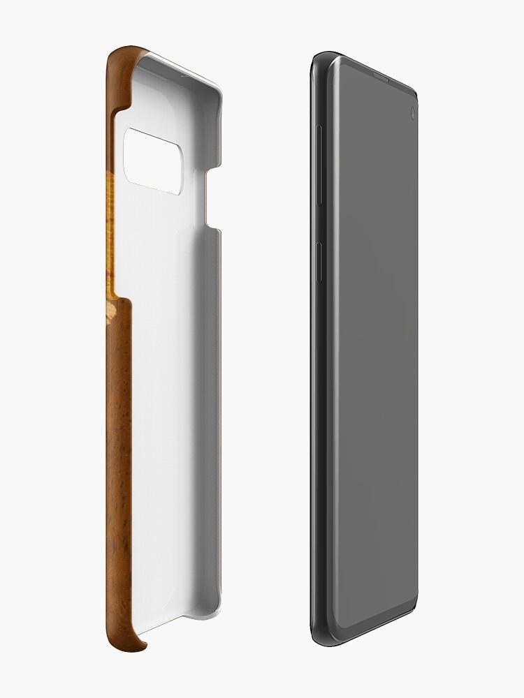 Vista alternativa de Funda y vinilo para Samsung Galaxy Kualoa Faux Koa Wood Tabla de surf hawaiana con hibisco