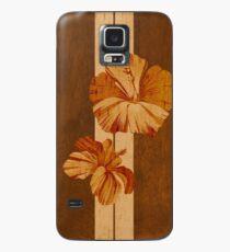 Kualoa Faux Koa Holz Hawaii Surfbrett mit Hibiskus Hülle & Klebefolie für Samsung Galaxy