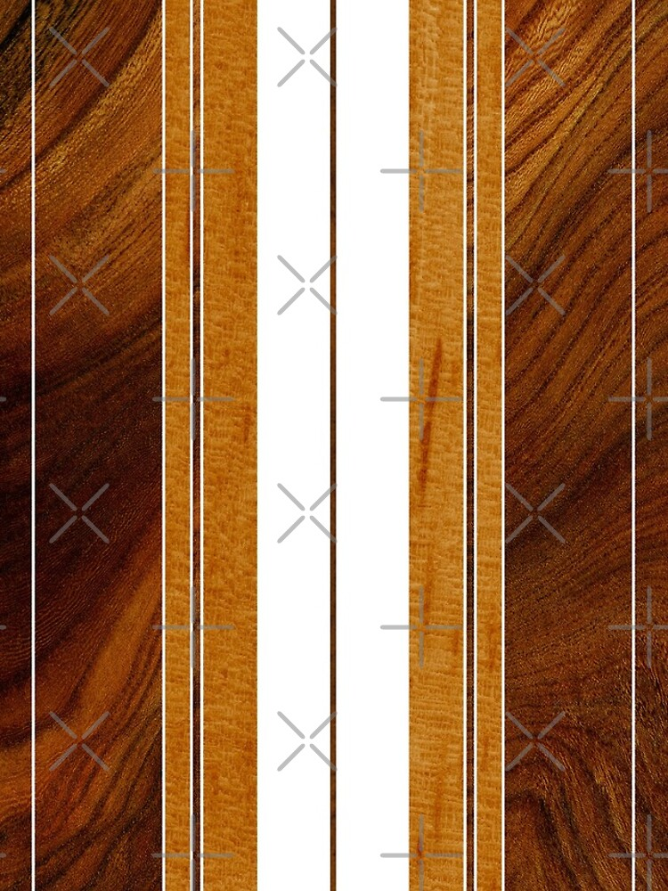 Nalu Mua Hawaiian Faux Koa Wood Surfboard - White by DriveIndustries