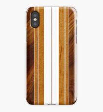 Nalu Mua Hawaiian Faux Koa Wood Surfboard - White iPhone Case/Skin
