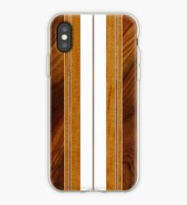 Nalu Mua Hawaiian Faux Koa Wood Surfboard - White iPhone Case
