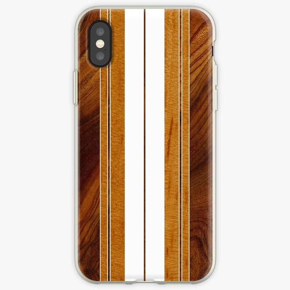 Nalu Mua Hawaiian Faux Koa Wood Surfboard - White iPhone Cases & Covers