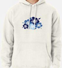 Epic Hibiscus Hawaiian Floral Aloha Shirt Print - Blue Pullover Hoodie