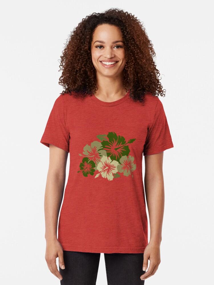 Alternate view of Epic Hibiscus Hawaiian Floral Aloha Shirt Print - Olive Green Tri-blend T-Shirt