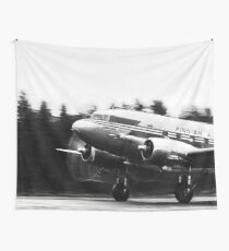 Douglas DC-3 taking off in rain Wall Tapestry