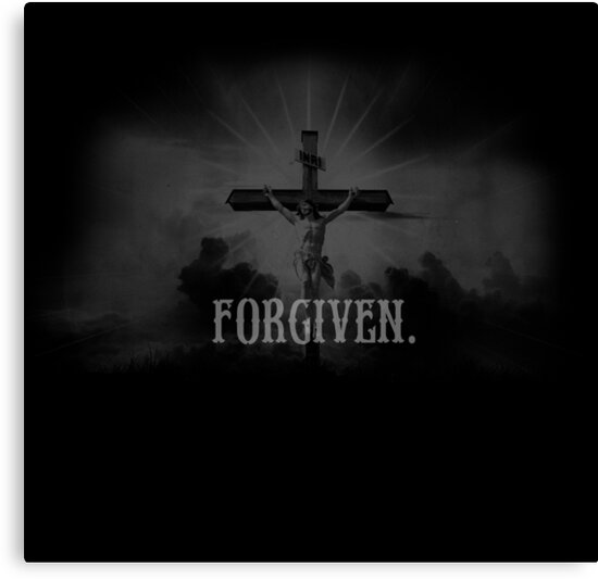 Forgiven Christian Quotes Typography Jesus Christ Canvas Prints